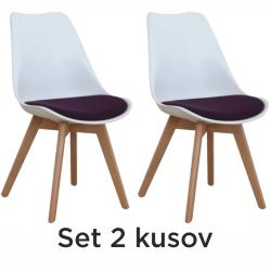 2 kusy, stolička, biela/fialová, DAMARA