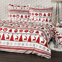 4Home obliečky mikroflanel Christmas Time červená, 140 x 200 cm, 70 x 90 cm