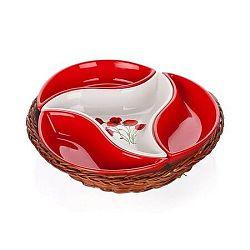 BANQUET Red Poppy servírovacie misky v košíku 4 diely 601556RP