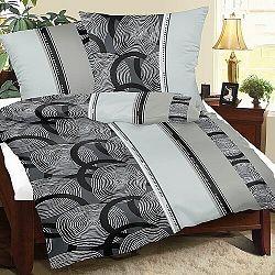 Bellatex Krepové obliečky Špirály sivá, 140 x 220 cm, 70 x 90 cm