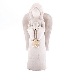 Betónový anjel s hviezdou, 19,5 cm