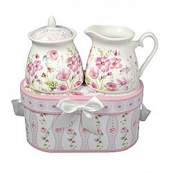 Darčeková sada porcelánovej cukorničky a mliekovky Ružové kvetiny