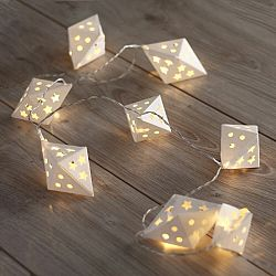 DecoKing Ozdobná papierová girlanda biela, 10 LED