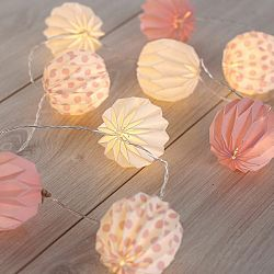 DecoKing Ozdobná papierová girlanda ružová, 10 LED