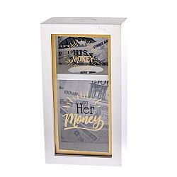 Drevená pokladnička His and Her, 12 x 22 cm