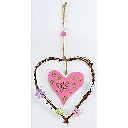 Drevená závesná dekorácia Srdce ružová, 20 cm