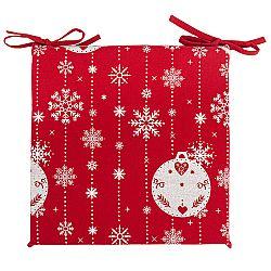 Forbyt Vianočný sedák na stoličku Vianočné ozdoby červená, 40 x 40 cm