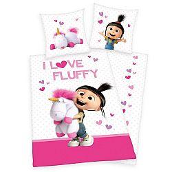 Herding Detské bavlnené obliečky Mimoni Agnes - I love Fluffy, 135 x 200 cm, 80 x 80 cm