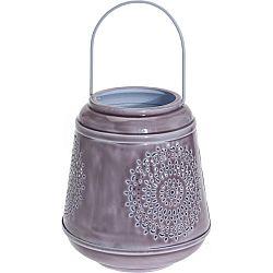 Hliníkový lampáš Larmes fialová, 19 cm
