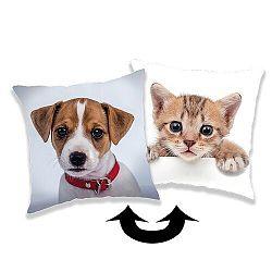 Jerry Fabrics Obliečka na vankúšik s flitrami Pes / kočka, 40 x 40 cm