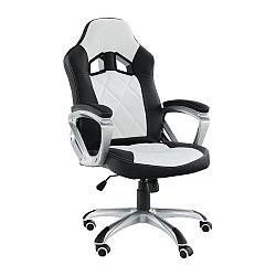 Kancelárske kreslo, ekokoža čierna/biela, LOTAR, rozbalený tovar