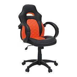 Kancelárske kreslo, ekokoža čierna/oranžová, NELSON