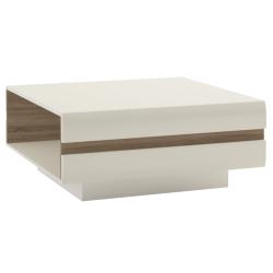 Konferenčný stolík, biela extra vysoký lesk HG/dub sonoma tmavý truflový, LYNATET TYP 70