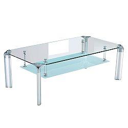 Konferenčný stolík, sklo/strieborný, RICKY