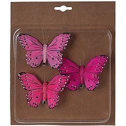 Koopman Sada motýľov na klipe 3 ks, ružová