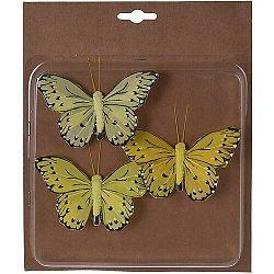 Koopman Sada motýľov na klipe 3 ks, žltá