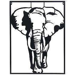 Koopman Závesná kovová dekorácia Slon biela, 30 x 40 cm