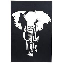 Koopman Závesná kovová dekorácia Slon čierna, 30 x 40 cm