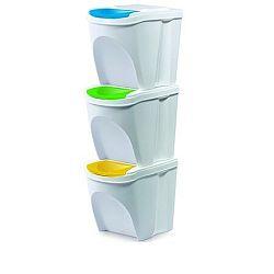 Kôš na triedený odpad Sortibox 20 l, 3 ks, biela IKWB20S3 S449