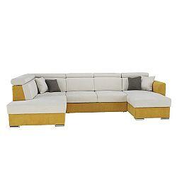 Luxusná sedacia súprava, žltá/krémová, ľavá, MARIETA U, rozbalený tovar