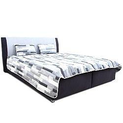 Manželská posteľ, čierna/tmavosivá/vzor, 160x200, DESI