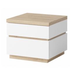 Nočný stolík (2ks), biela/dub divoký, PIETRO