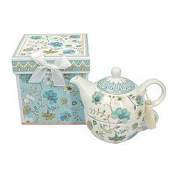 Porcelánová čajová kanvička so šálkou Modré kvetiny v darčekovej krabičke
