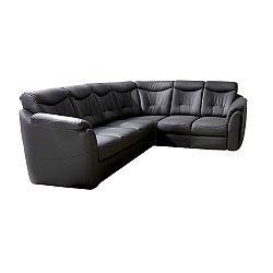 Rozkladacia sedacia súprava, ekokoža čierna, pravá, MERLIN