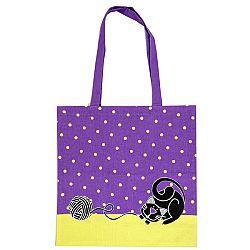 Trade Concept Nákupná taška Mačka fialová, 40 x 42 cm