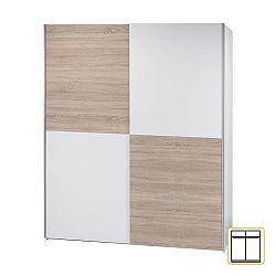 Vešiaková skriňa s posúvacími dverami, biela/dub sonoma, VICTOR 2