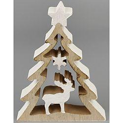 Vianočná dekorácia Stromček s jeleňom, 11 x 15 cm