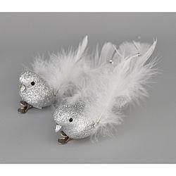 Vianočná dekorácia Vtáčiky strieborná, 2 ks