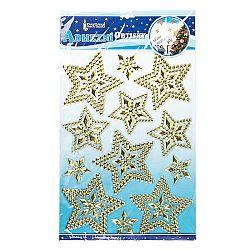 Vianočné 3D samolepky hviezdy zlatá, HTH