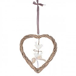 Závesná dekorácia Ratanové srdce s vtáčikmi, hnedá