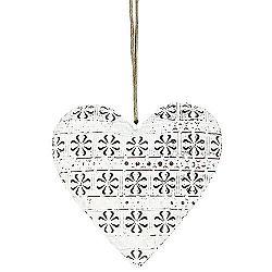 Závesná kovová dekorácia Cloverleaf heart, 10,5 cm