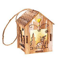 Závesný drevený domček s LED svetlom Sob, 5 x 8,2 cm